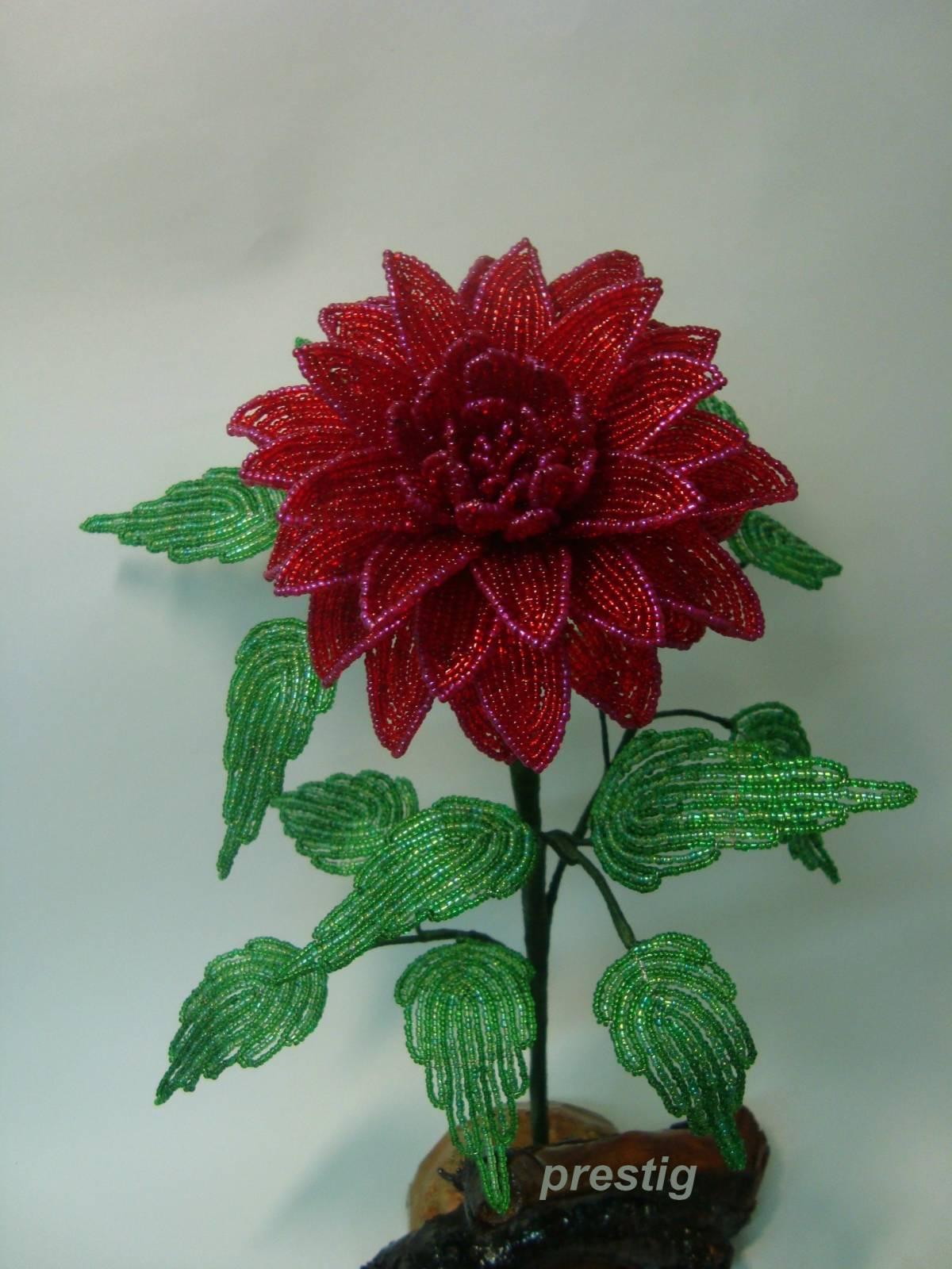 Цветы из бисера георгины мастер класс с пошаговым фото